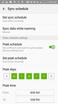 Is there a way to automatically enable email sync while roaming